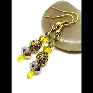 Yellow & Taupe Gray Greige Crystal Bronze Earrings